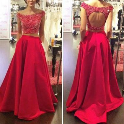 Two Pieces Open Back Red Satin Det..
