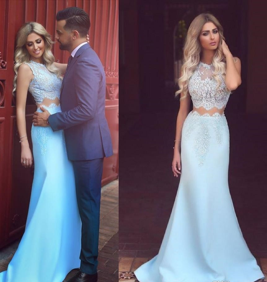 Light Blue Two Pieces Prom Dress