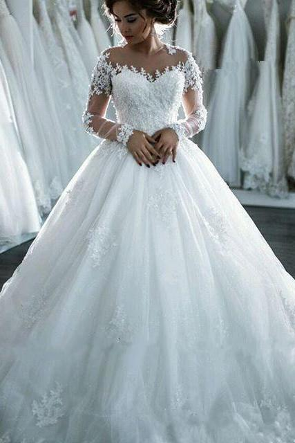 Sheer Lace Appliqués Ball Gown Wedding Dress with Long Sleeves
