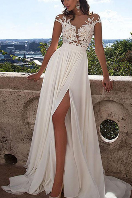 Long White Lace A-Line Prom Dress With Appliques,Sexy Wedding Dress