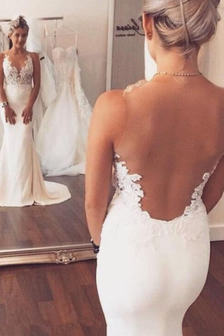 Cheap Mermaid Wedding Dresses,Lace Wedding Dress, Long See Through Wedding Dresses,Ivory Wedding Dresses