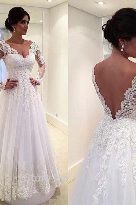 A-Line Elegant White Wedding Dress,Long Sleeve Bridal Gown Wedding Dresses,Open Back V-Neck Lace Plus Size Tulle Wedding Dresses Custom-made