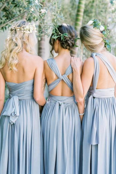 Multiway Bridesmaid Dresses-Dusty Blue Convertible Bridesmaid Dresses