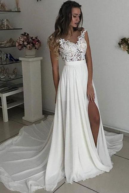 Cap Sleeves Prom Dresses,Chiffon Wedding Dress with Slit, Summer Beach Wedding Dresses