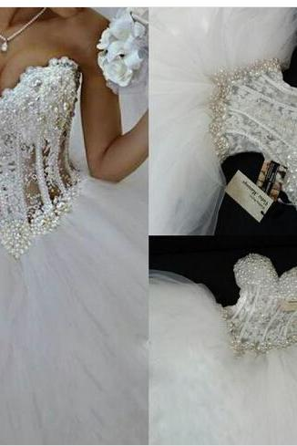 Luxurious Bling Wedding dress,Strapless Wedding dresses Corset Bodice Sheer Bridal Ball Crystal Pearl Beads Rhinestones Tulle Wedding Gowns