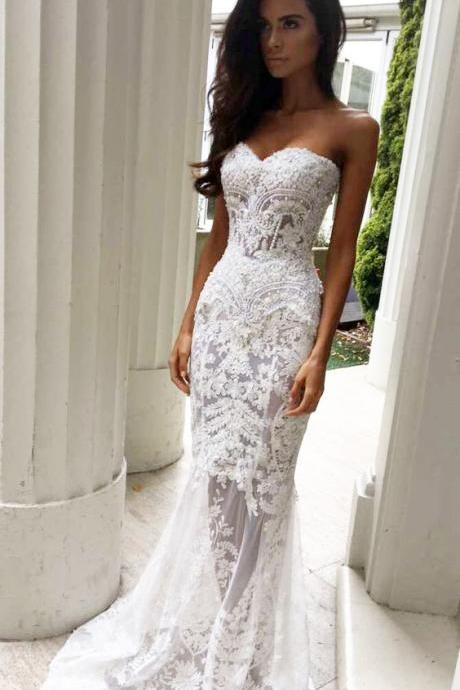 Charming Sheath Wedding Dress, Sweetheart Wedding Dresses with Appliques, Lace Wedding Dresses,Strapless Wedding Dresses,Long Wedding Dresses
