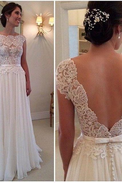 Wedding Dress, Backless Wedding Dresses, Elegant Wedding Dresses , Lace Wedding Gown , Ivory A-line Wedding Gowns ,Chiffon Bridal Dresses