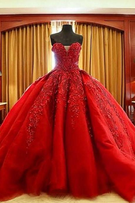 Gorgeous Ball Gown,Red Prom Dress,Lace Prom Dress,Fashion Bridal Dress,Sexy Party Dress, New Style Evening Dress