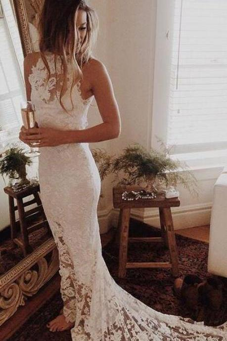 Wedding Dress,Wedding Dresses,Beach Wedding Dresses,Summer Wedding Dresses,Lace Mermaid Wedding Dresses,Sheer Neck Wedding Dresses