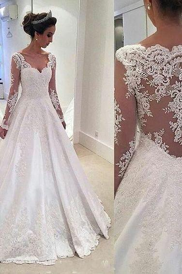 A line High Quality French Lace Wedding Dress,Long Sleeves Lace Bridal Dress,Sexy Open Back Lace Wedding Dresses