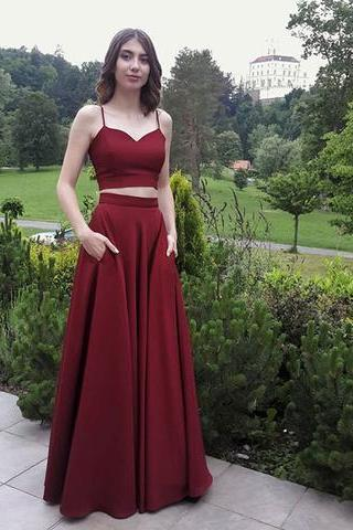Two Pieces Prom Dress with Pockets Skirt,Evening Gown,Floor Length Long Prom Dresses