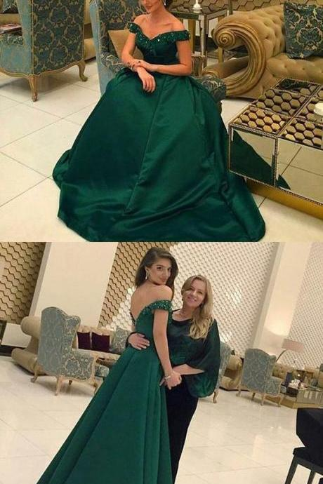 modest off shoulder prom party dresses with beaded, fashion formal evening gowns
