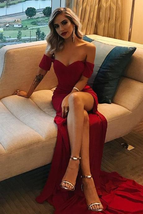 simple off the shoulder burgundy prom dresses long, sexy high leg split dark red prom party dress,cheap evening gowns for women