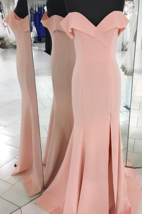 pink prom dress, off the shoulder long prom dress, 2018 prom dress, simple prom dress, party dress, mermaid long prom dress