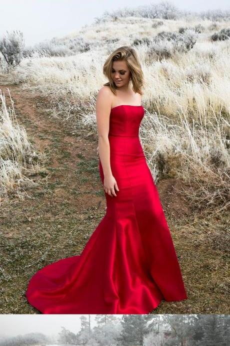 elegant strapless mermaid red long prom dress with train, formal evening dress party dress wedding party dress