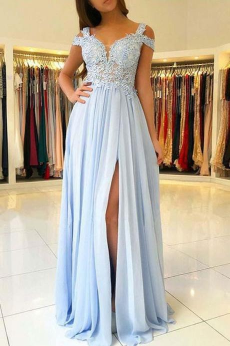 A-Line Light Blue Chiffon Prom Dress with Appliques