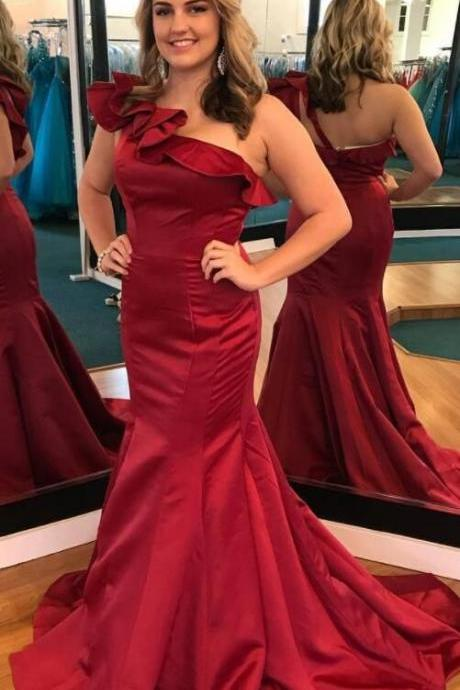 gorgeous one shoulder mermaid red long prom dress formal evening dress wedding party dress