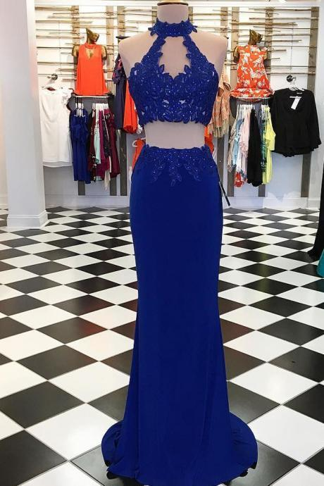 Princess Two Piece Long Prom Dress Party Dress Two Piece Homecoming Dress