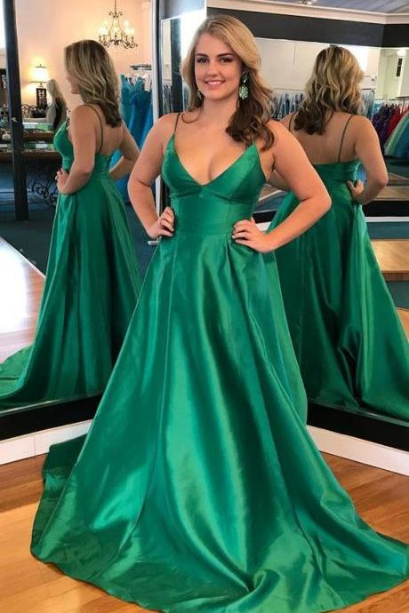 straps green long prom dress, elegant green long prom dress party dress
