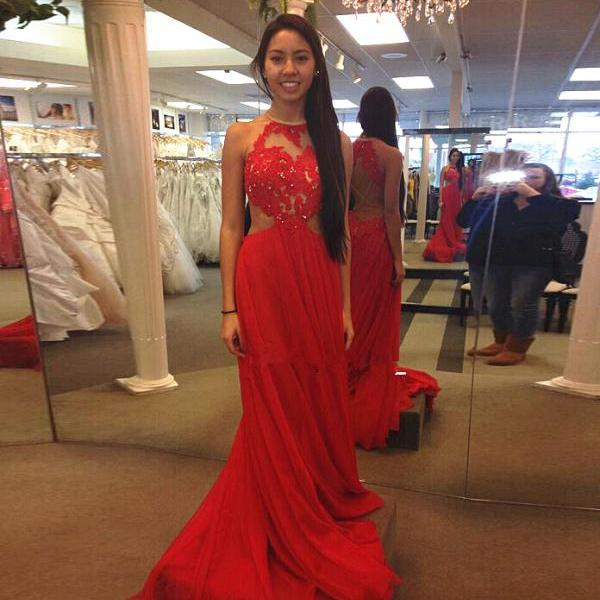 Red Lace And Applique Long Chiffon Prom Dress Beading Bodice Gown With Open Back