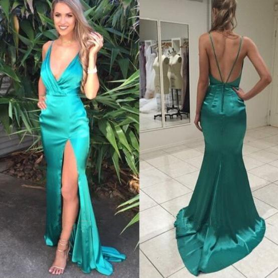 V neck Prom Dress,Satin Prom Dress,Backless Evening Dresses,High Slit Formal Gowns,Sexy Prom Dress,Cheap Prom Party Dress